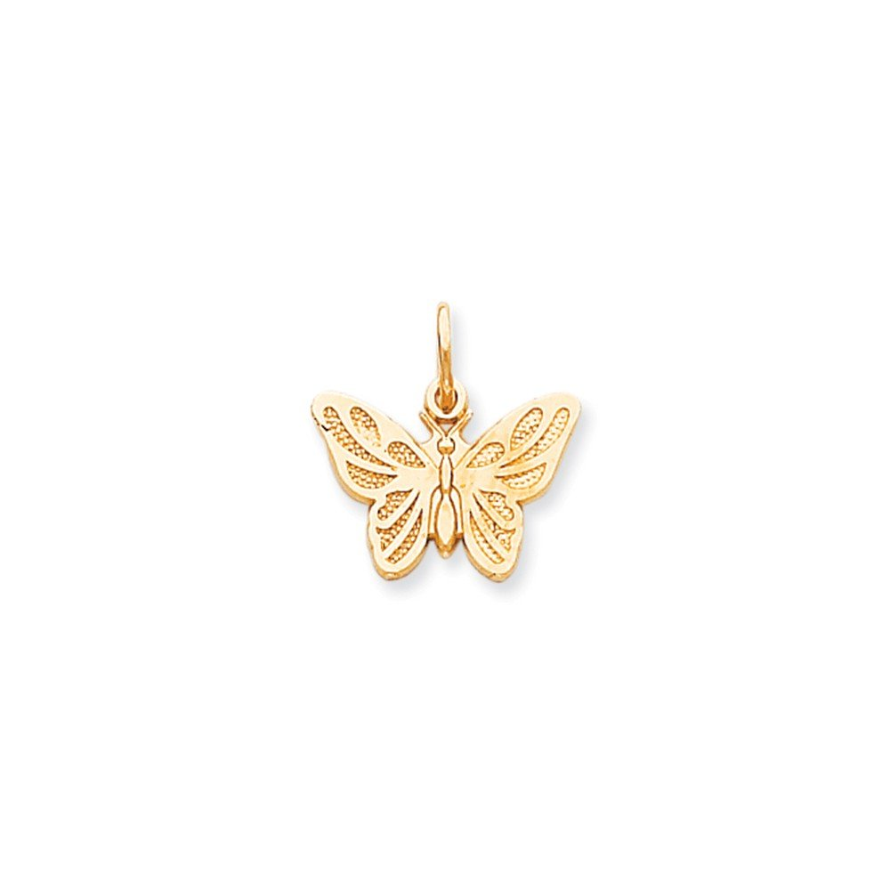 Mireval 10k Yellow Gold Butterfly Charm (16 x 18 mm)