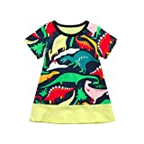 Buimin Newest Baby Summer Dress,Toddler Kid Baby Girl Casual Short Sleeve Dinosaur Printing Party Princess Dress Outfits Clothes for 2-6 Years Old (Label Size:100)