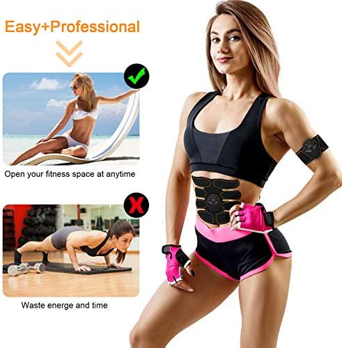 SPORTLIMIT Abs Stimulator, Wireless Portable Fitness Workout Equipment for Men Woman Abdomen/Arm/Leg Home Office Exercise,10pcs Free Gel Pads 7