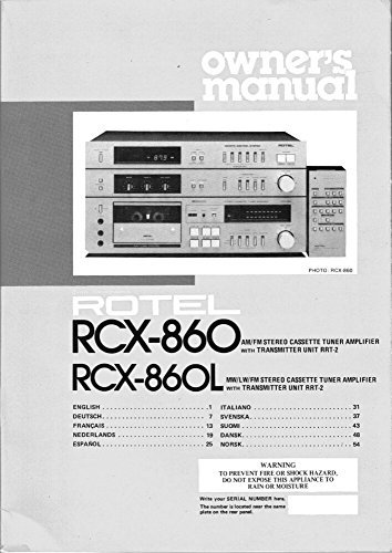 Rotel RCX-860L Stereo Owners Instruction Manual Reprint [Plastic Comb]