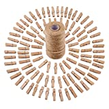 Sunmns 320 Feet Jute Twine and 100 Pieces Mini Natural Wooden Craft Clothespins Craft Pegs Clips