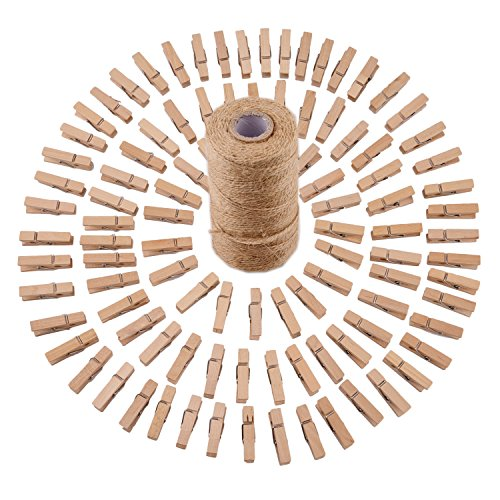 Sunmns 320 Feet Jute Twine and 100 Pieces Mini Natural Wooden Craft Clothespins Pegs Clips