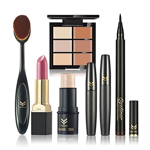 RoseFlower Cosmetic Makeup Set Mascara Liquid Eyeliner Pencil Concealer Palette Lipstick Makeup Brush Highlight Long-lasting Makeup (Palette Lipstick Mascara)