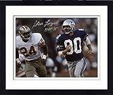 "Framed Steve Largent Seattle Seahawks Autographed 8"" x 10"" Blue Uniform Running Photograph with HOF 95 Inscription - Fanatics Authentic Certified"