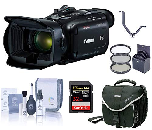 Canon VIXIA HF G21 2.9MP Camcorder, 20x HD Optical Zoom, Full HD Video - Bundle with Video Bag, 58mm Filter Kit, 32GB Class 10 SDHC Card, Cleaning Kit, Two Shoe V-Bracket