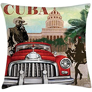 Lunarable Cuba Throw Pillow Cushion Cover, Country Tourism Advertisement Theme Vintage Design Cigar Smoking Man and Dancing Girl, Decorative Square Accent Pillow Case, 16