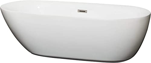 Wyndham Collection Melissa 71 inch Freestanding Bathtub in White with Brushed Nickel Drain and Overflow Trim