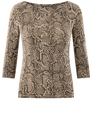 Marrone 3 Maglia Donna Maniche Stampata 2520a a 4 oodji con Collection ASxqggU7