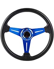 Acouto Universal Steering Wheel, 350mm Universal PU Leather Car Sport Racing Drift Steering Wheel Blue