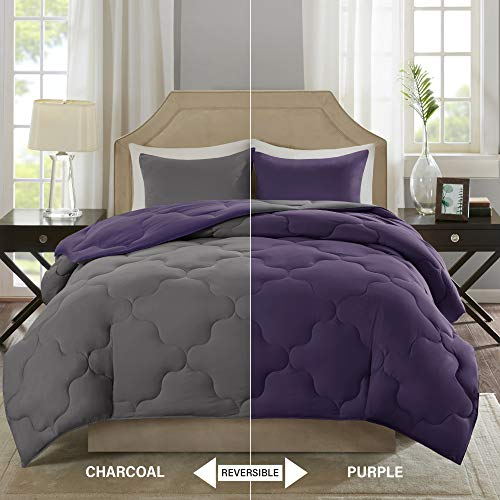 Comfort Spaces – Vixie relatively easy to fix Goose decrease discretionary Comforter minuscule Set - 3 Piece – Purple and Charcoal – Stitched Geometrical Diamond Pattern – Full/Queen Size, includes 1 Comforter, 2 Shams Black Friday & Cyber Monday 2018