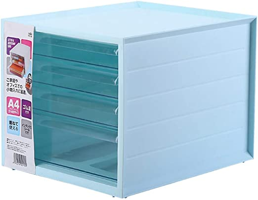4 Drawers Large Plastic Storage Drawers Blue