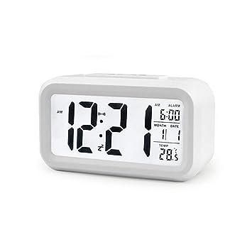 Houkiper Reloj Despertador Electrónico Digital, Reloj de Escritorio Multifunción con Pantalla LCD Grande con Función de Luz de Fondo y Repetición para ...