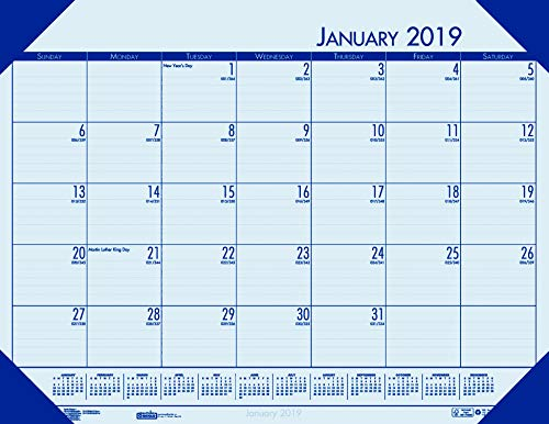 House of Doolittle 2019 Monthly Desk Pad Calendar, EcoTones, Blue Paper, 22 x 17 Inches, January - December (HOD12440-19)