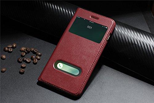 IPhone 7 klassisk Hülle, Venter® Hülle Echtes Leder Ultra dünner Schlag-Abdeckungs-Fall mit Fenster-Ansicht-Standplatz-Eigenschaft Telefon-Kasten für Apple IPhone 7