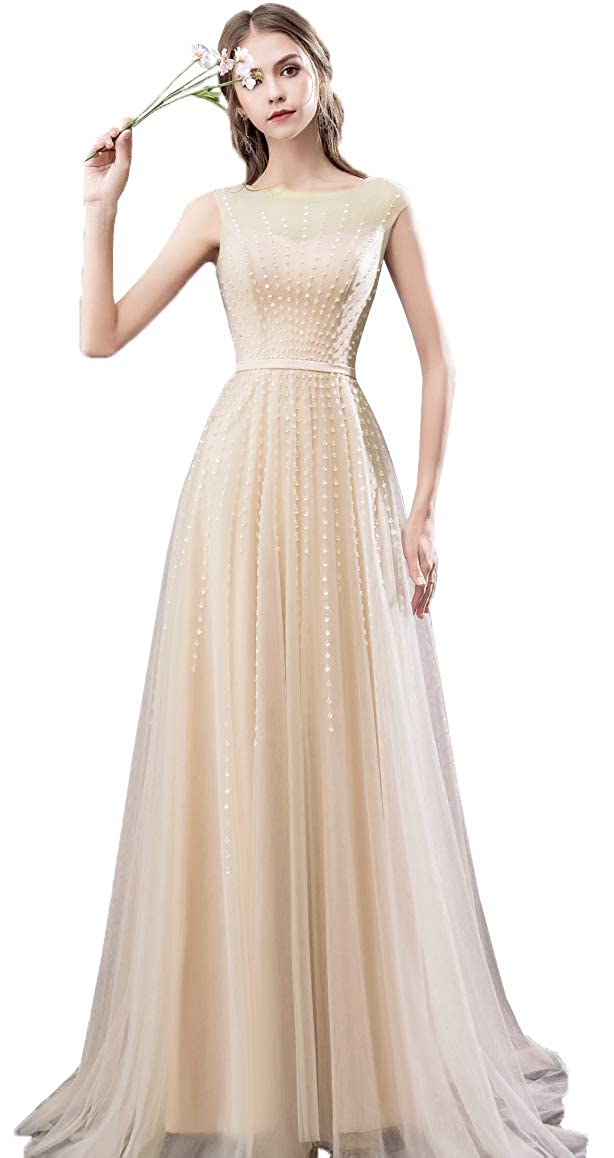 Champagne EileenDor Women's Beading Cap Sleeve Evening Dresses Crew Neck Tulle A Line Formal Dresses with Sweep Train