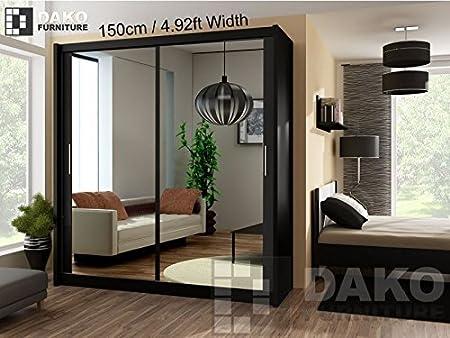 Armario de puertas corredizas moderno con espejo para dormitorio color negro - 150 cm de ancho: Amazon.es: Hogar