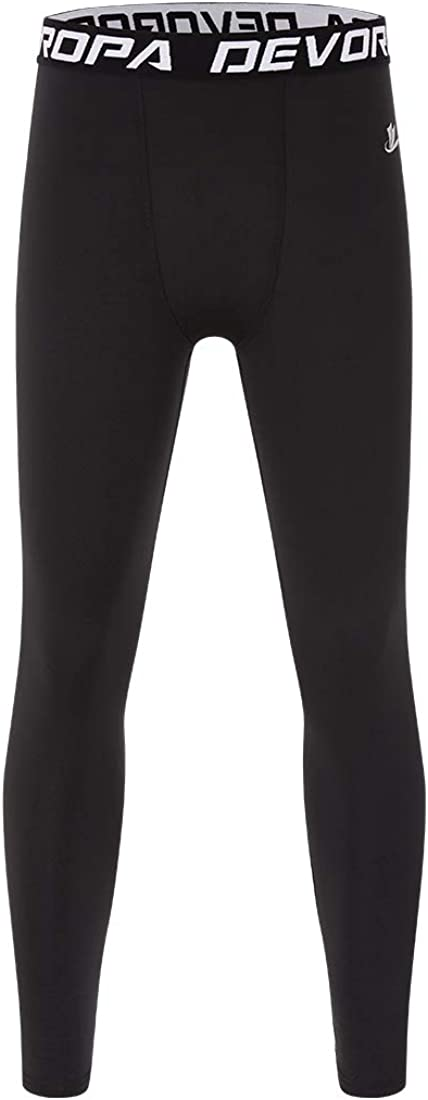Devoropa Youth Boys' Compression Leggings Sports Tights Fleece Lined Thermal Base Layer Pants: Clothing