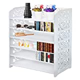 DL furniture - WPC Multipurpose Shoe Rack & Book Shelf L23.5'' x W9.5'' x H38'' 6 Tier Tall & Wide, Environmental Friendly Material | White…