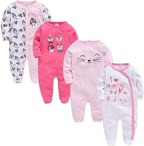 Paquete de 4 Conjunto de Pijama para Bebé Mamelucos de Manga Larga Niños Niñas Mono Traje de Dormir Algodón 0-3 Meses: Amazon.es: Bebé
