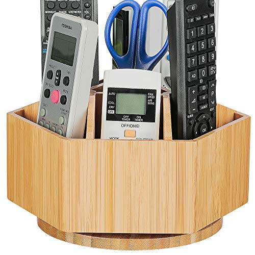 Bamboo Rotating TV Remote Holder, Remote Caddy with 7 Sections for Keys, Remote Controls, Nail Clippers, Medication and More, All-in-one Living Room Holder