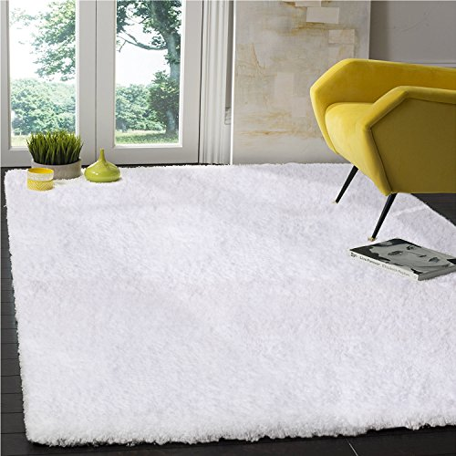 LOCHAS Tufted Shag Collection Living & Bedroom Soft Shaggy, Snow-White, Area Rug(5' x - Leather Collection Shag