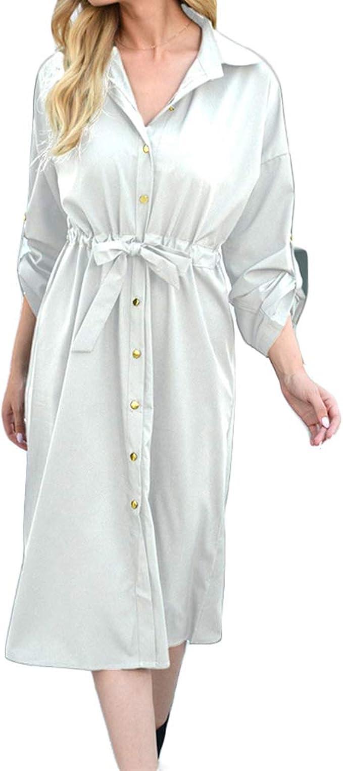 QIYUN.Z Vestido de Camisa de Mujer Ajustada de Color sólido ...