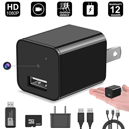 Hidden Camera,32GB 1080P HD Spy Camera charger with Motion Detection Loop Video Record for Home Office Security Surveillance(INCLUDE 32GB TF CARD) by DigiHero