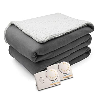 Biddeford Comfort Knit Natural Sherpa Electric Heated Blanket King Gray