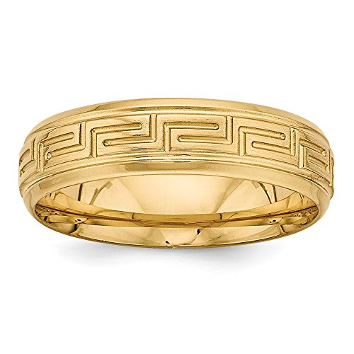 Comfort Fit Fancy Wedding Band - Size 8 - Solid 14k Yellow Gold Standard Comfort Fit Fancy Wedding Band