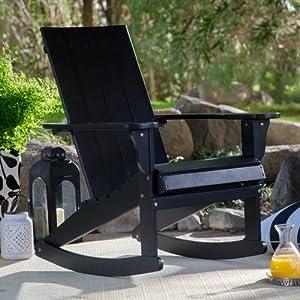 Outdoor Portside Modern Adirondack Wood Rocking Chair 31.5W X 29.13D X 37H  In.   Black