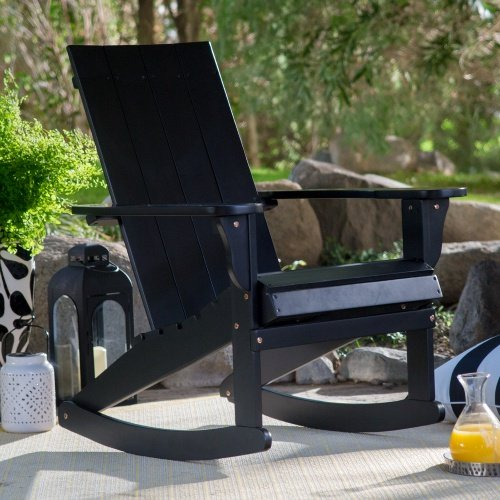 Outdoor Portside Modern Adirondack Wood Rocking Chair 31.5W x 29.13D x 37H in. - Black by Pelham Living