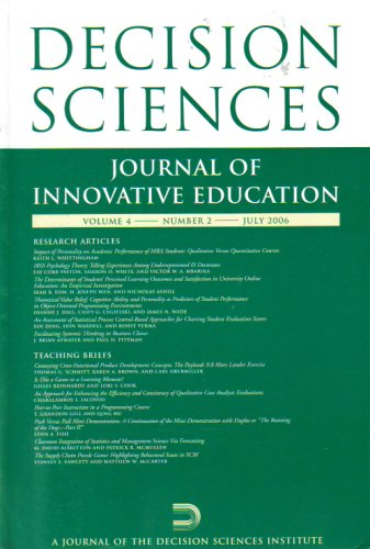 Decision Sciences: Journal of Innovative Education (Volume 4, Number 2, July 2006)