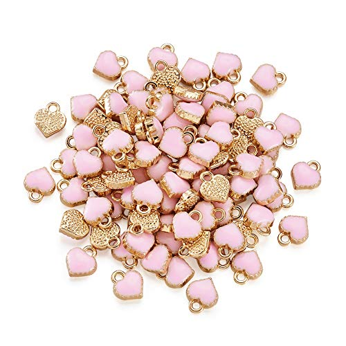 Pandahall 100pcs Heart Alloy Pink Enamel Charms 8x7.5x2.5mm Mini Heart Beads Gold Plated Dangle Charms for Jewelry Making Valentine's Day Accessories Finding Supplies Hole: -