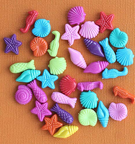 (25 Beach Beads Acrylic Assorted Bright and Fun for Pendant Bracelet DIY Jewelry Making Kit)