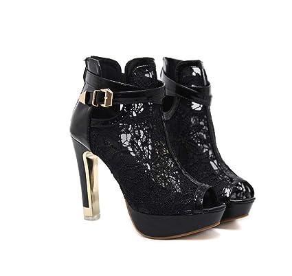 Para Zapatos Cortas Tacón Fortr Súper Mujer Home Moda Botas Alto c1pnxaUtf