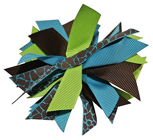 Chicky Chicky Bling Bling Girls Small Pom Pom Hair Bow turquoise brown and lime ()