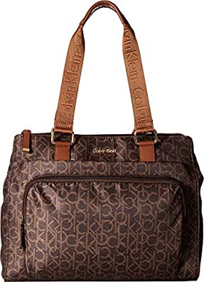 Calvin Klein Women's Belfast Nylon Tote Brown/Khaki/Luggage 2 Apparel