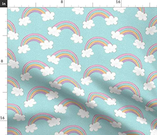 (Rainbows On Blue Skies Fabric - In Rainbow Nursery Rainy Days Sunny Day Sunshine Pastel Unicorns And Clouds Print on Fabric by the Yard - Velvet for Upholstery Home Decor Bottomweight Apparel)