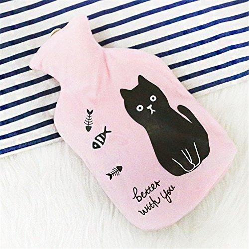 Plush Water Injection Hot Water Bottle Warm Water Bag (Pink cat) ()