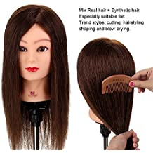 Neverland Beauty 20 Inch 70% Real Human Hair Hairdressing Cosmetology Training Head Mannequin Head Hairdresser Training Head w/Clamp For College and Professional Use #4