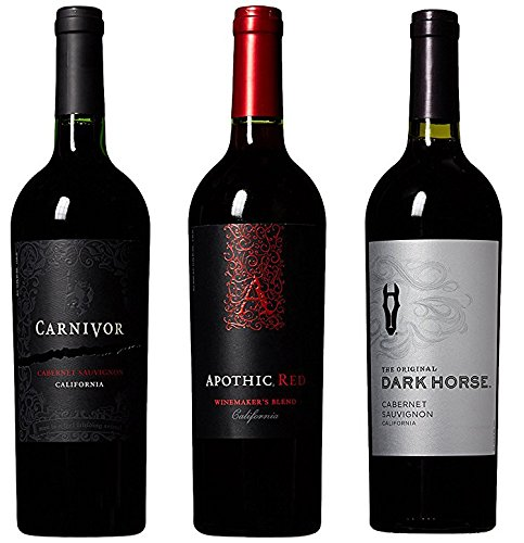 King of the Reds Dark Horse, Apothic and Carnivor Red Wine Mixed Pack, 3 x 750 mL