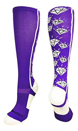 MadSportsStuff Crazy Socks with Diamonds Over The Calf (Purple/White, Medium)