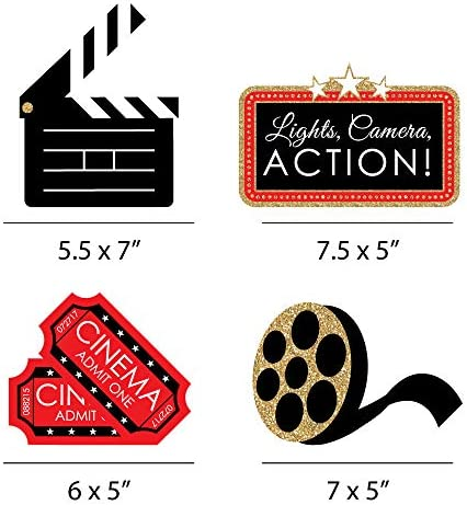 BIG DOT OF HAPPINESS RED CARPET HOLLYWOOD - CLAPBOARD, MOVIE TICKETS AND FILM REEL DECORATIONS DIY MOVIE NIGHT PARTY ESSENTIALS - SET OF 20