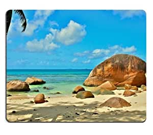 Sea Rock Beaches Tropical Scenery Mouse Pads Customized Made to Order Support Ready 9 7/8 Inch (250mm) X 7 7/8 Inch (200mm) X 1/16 Inch (2mm) High Quality Eco Friendly Cloth with Neoprene Rubber MSD Mouse Pad Desktop Mousepad Laptop Mousepads Comfortable Computer Mouse Mat Cute Gaming Mouse pad by icecream design