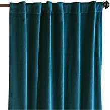 Teal Velvet Curtains, 50 in W by 120 in H Blackout (ONE PANEL) Thick Vinatge Velvet Curtain, Absolute Blackout, Sound proof, Window Curtains for Bedroom, Living-room, Home Theater, Hall