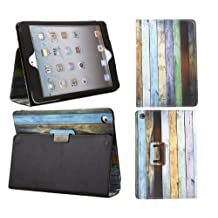 iTALKonline PADWEAR WOODEN RAINBOW BLUE GREEN BROWN GREY Multi Function Multi Angle Luxury Executive Wallet Stand Cover Typing Case with Magnetic Sleep Wake Sensor Feature For Apple iPad Mini (Wi-Fi and Wi-Fi + 3G) 16GB 32GB 64GB