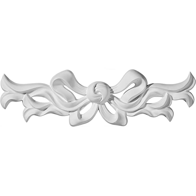 Ekena Millwork ONL13X03X01VE 13-Inch W X 3-Inch H X 3//4-Inch P Versailles Medium Ribbon with Bow Center Onlay