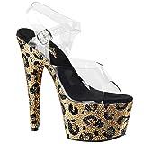 Womens Leopard High Heels Platform Sandals Gold Rhinestone Shoes 7 Inch Heels Size: 9