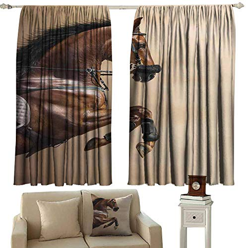 (SAMEK Rod Pocket Curtains,Horses Chestnut Color Horse Jumping in Hackamore Life Force Power Honor Love Sign Print,Great for Living Rooms & Bedrooms,W63x72L Inches Brown Cream)