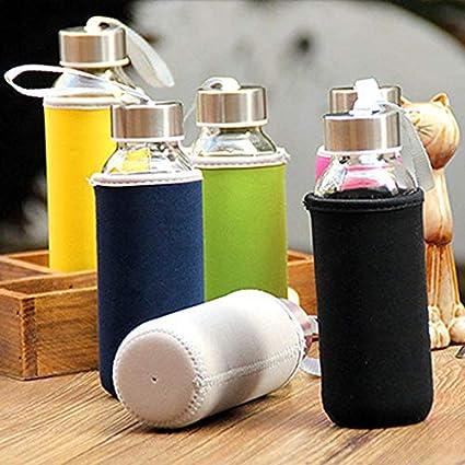 Negro Botella Yogamada 300ml Botella de Cristal de borosilicato Vidrio de Agua con el pa/ño de la Bolsa Armada